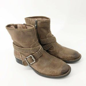 Nurture Womens Brown Leather Booties Size 10 Ankle